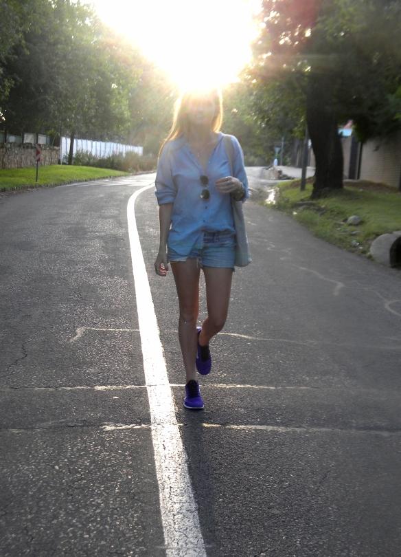 walking in denim on denim