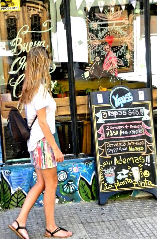 colouful skirt, top, bag