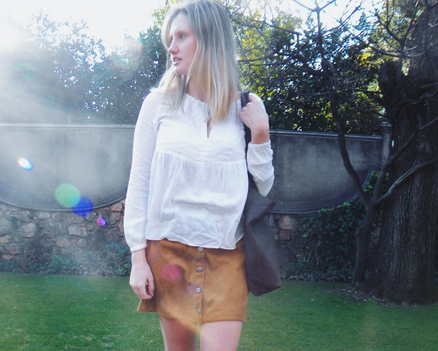 brown button skirt, white top