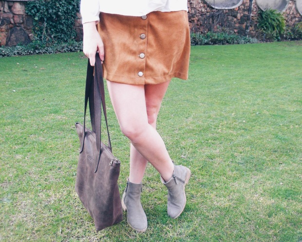 brown bag, brown button down skirt