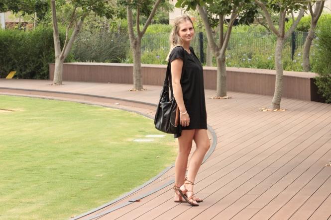 cotton black sack dress